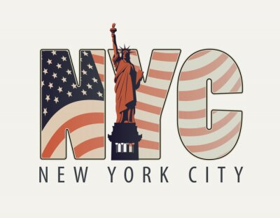 Adesivo Vector la bandiera con le lettere NYC con l'immagine della bandiera americana e della statua della libertà su fondo leggero