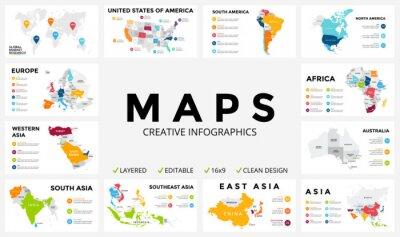 Adesivo Vector mappa infografica. Presentazione di diapositive. Concetto globale di attività di marketing. Paese di colore. Mondo dati trasporto geografia. modello di statistica economica. Mondiale, America,