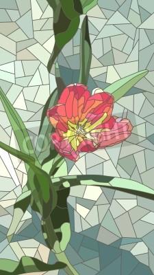 Adesivo Vector mosaic verticale con grandi cellule di fiori di tulipano rosso su verde.