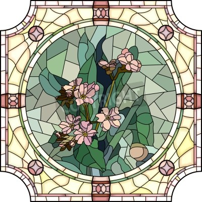 Adesivo Vector mosaic with large cells of flowers forget-me-not with buds in round stained-glass window frame.