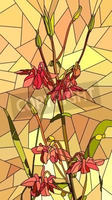 Adesivo Vector mosaico verticale con grandi cellule di fiori Columbine sul giallo.