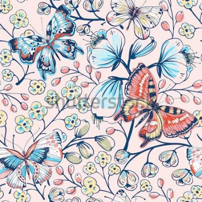 Adesivo Vector motivo floreale senza soluzione di continuità con fiori e farfalle d'epoca