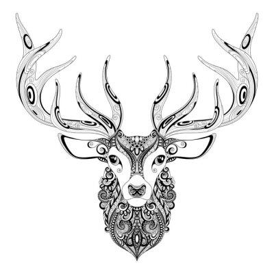 Adesivo Vector Ornate Deer Cornuto Capo