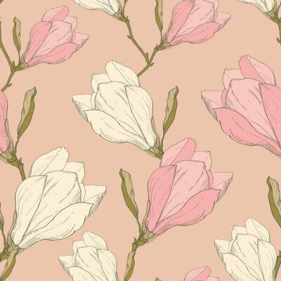 Adesivo Vector rosa Vintage Magnolia fiori in tessuto retro ripetere seamless pattern disegnata a mano in stile Arte. Perfetto per il tessuto, carta da parati, imballaggio, sfondi, biglietti d'auguri.