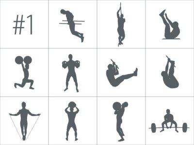 Adesivo Vector sagome di persone che fanno il fitness e gli allenamenti crossfit