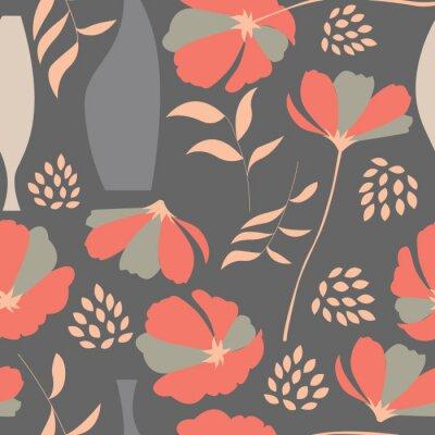 Adesivo Vector seamless con elementi floreali, fiori primaverili, po