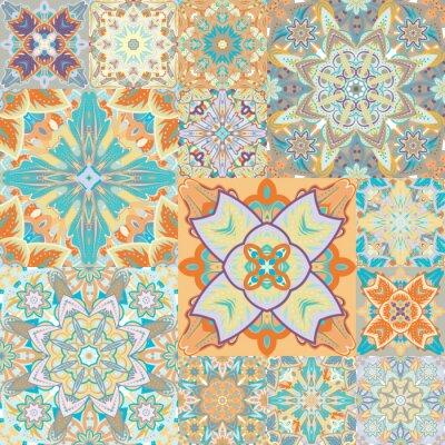 Adesivo vector seamless. Patchwork. in stile arabo. Illustrazione astratta.