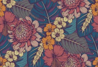 Adesivo Vector seamless pattern con composizioni di fiori tropicali disegnati a mano