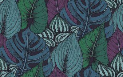 Adesivo Vector seamless pattern con composizioni di piante tropicali disegnate a mano