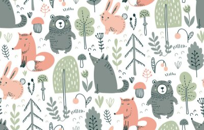 Adesivo Vector seamless pattern with hand drawn wild forest animals,