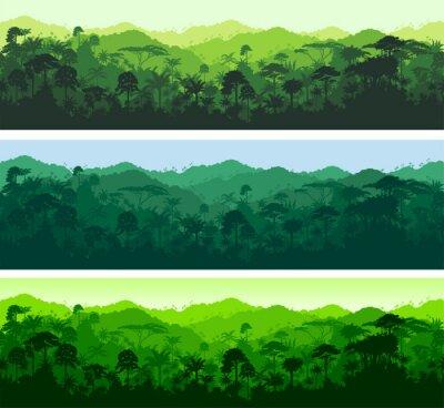 Adesivo Vector senza soluzione di continuità orizzontale foresta pluviale tropicale Jungle sfondo