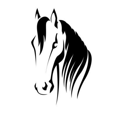 Adesivo Vector silhouette di una testa di cavallo