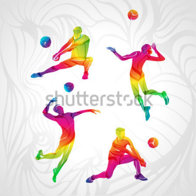 Adesivo Vector volleyball silhouettes rainbow collection