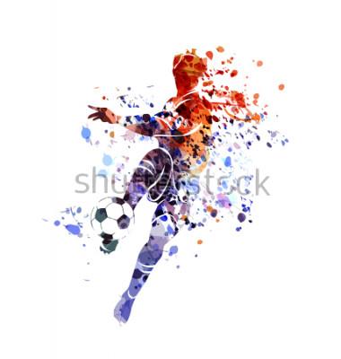 Adesivo Vector watercolor silhouette soccer player