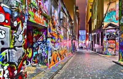 Adesivo Veduta di colorate opere d'arte dei graffiti a Hosier Lane a Melbourne