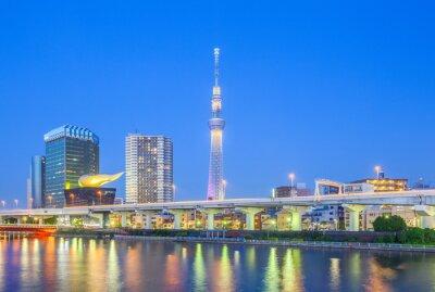 Adesivo Veduta di Tokyo Skytree punto di riferimento e il fiume Sumida durante la notte.
