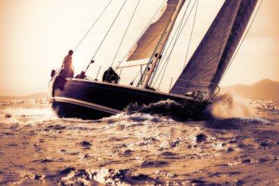 Adesivo vela barca a vela sul tramonto