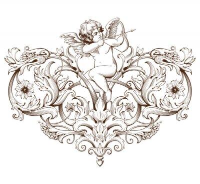 Adesivo Vendemmia, incisione elemento decorativo con ornamento barocco e Cupido