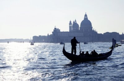 Adesivo Venezia, Canal Grande mit Gondel und Kirche Santa Maria della Salute