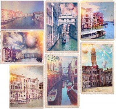 Adesivo Venezia - Cartoline antiche stile collage