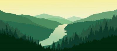 Adesivo Verde paesaggio di montagna con il fiume nella valle.