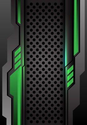 Adesivo Verde scuro grigio astratto futuristico sull'illustrazione futuristica moderna di vettore del fondo di progettazione della maglia del cerchio.
