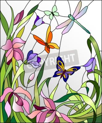 Adesivo Vetrata con fiori e farfalle