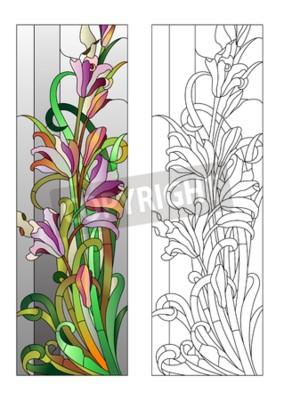 Adesivo Vetrata con motivo floreale viola