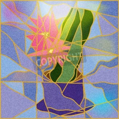 Adesivo Vetrata raffigurante una illustrazione fiore