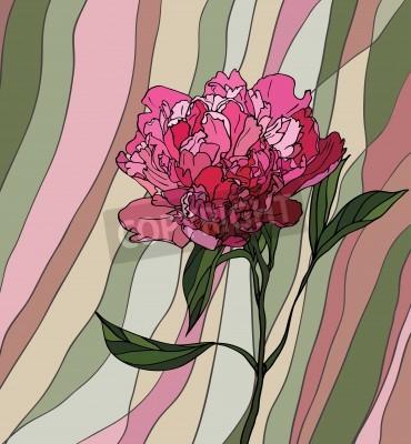 Adesivo Vetro multicolore colorato con motivi floreali, una peonia su uno sfondo a strisce multicolore
