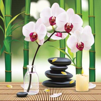 Adesivo Vettore Bella Composizione Spa con pietre zen