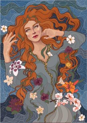 Adesivo vettore bella ragazza dai capelli rossi in un abito vecchio stile, onde del fiume, acqua e fiori
