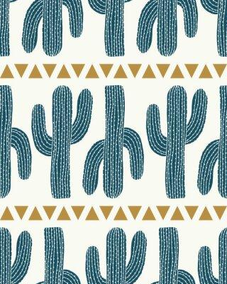 Adesivo vettore cactus striscia e triangoli crema seamless ripetere sfondo del modello