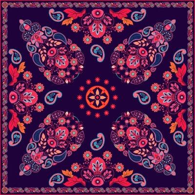 Adesivo Vettore di Paisley design quadrato floreale
