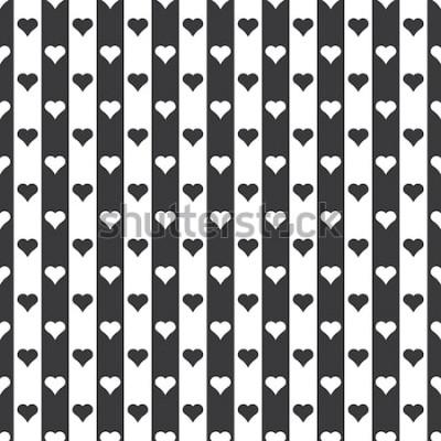 Adesivo Vettore in bianco e nero senza cuciture del modello dei cuori e delle bande