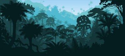 Adesivo Vettore orizzontale foresta pluviale tropicale Jungle sfondo