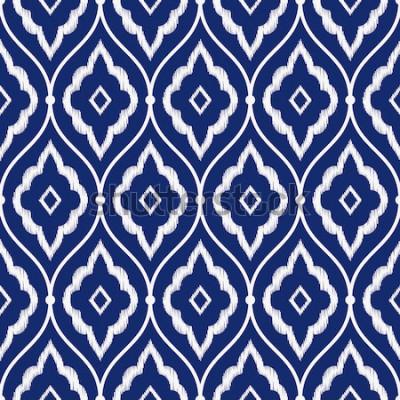 Adesivo Vettore persiano d'annata blu e bianco senza cuciture del modello del ikat della porcellana