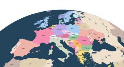 Adesivo vettore pianeta Terra globo con close up del continente europeo