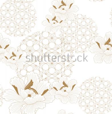 Adesivo Vettore senza cuciture del modello cinese Oro floreale con sfondo di elementi geometrici giapponesi per tessile, carta da imballaggio, sfondo, modello, design di copertina.