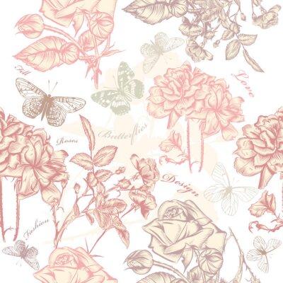Adesivo Vettore wallpaper seamless con rose