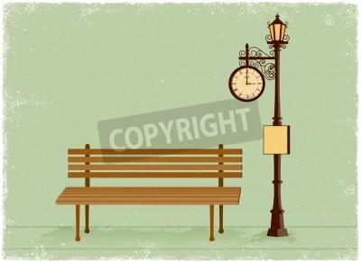 Adesivo Via orologio e lampione con panchina in stile vettoriale vintage