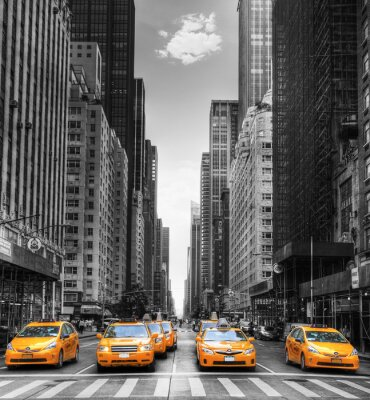 Adesivo Viale avec des taxi à New York.