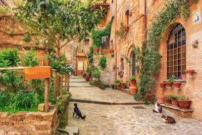 Adesivo Vicolo bella nella città vecchia Toscana