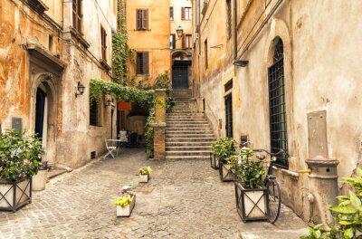 Adesivo vicolo romantico in centro storico di Roma, Italia