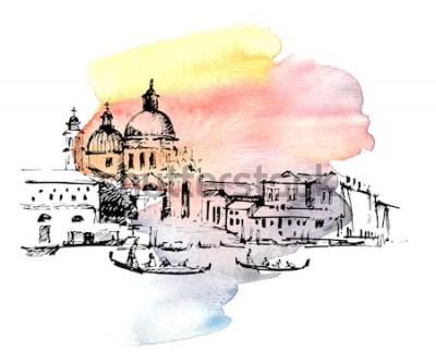 Adesivo Vie a Venezia con la gondola, Italia. Schizzo disegnato a mano su sfondo colorato ad acquerello.