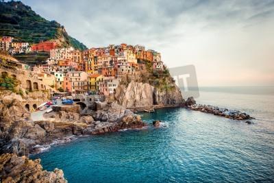 Adesivo View of Manarola. Manarola is a small town in the province of La Spezia, Liguria, northern Italy.