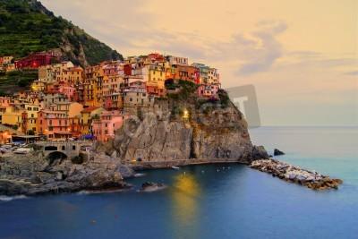 Adesivo Village of Manarola, Italy on the Cinque Terre coast at sunset