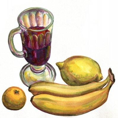 Adesivo Vin brulé, banane, limone e mandarino. pittura ad acquerello