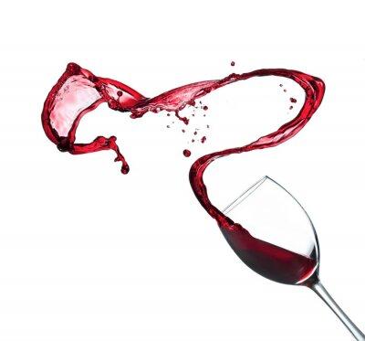 Adesivo Vino rosso che spruzza dal vetro, isolato su sfondo bianco
