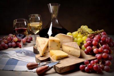Adesivo Vino, uva e formaggio